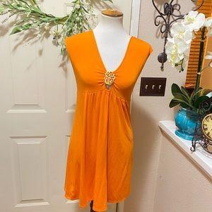 Orange Trina Turk Gold Brooch V Neck Mini Dress